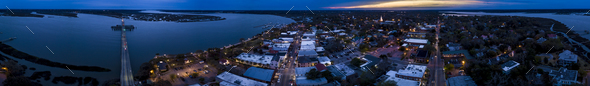 Seamless 360 degree aerial panorama of coastal town of Beaufort, - Stock Photo - Images