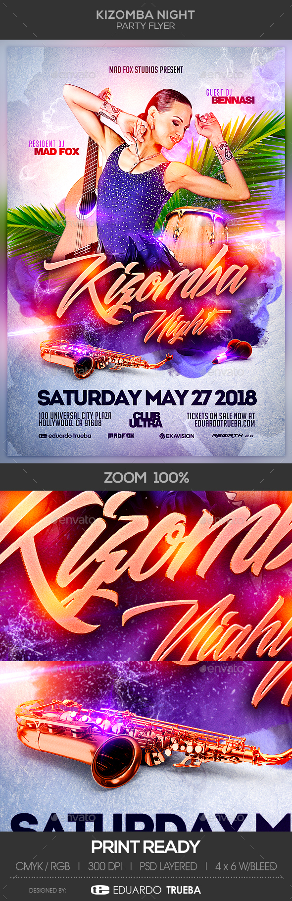 Kizomba Night Party Flyer - Clubs & Parties Events