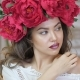 Girl Posing in Front of Camera. Young Woman in a Wreath of Scarlet Peonies on Her Head, Dark Long - VideoHive Item for Sale