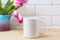 White coffee mug mockup with pink tulip in purple blue vase - PhotoDune Item for Sale