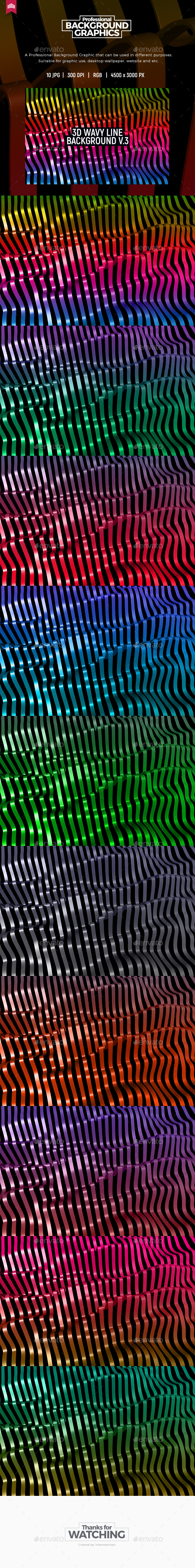 3D Wavy Line Background V.3 - 3D Backgrounds