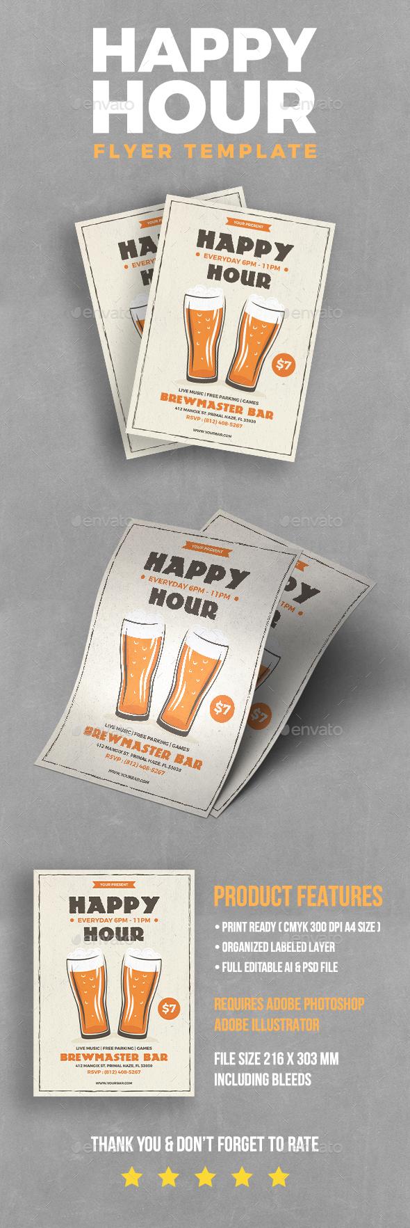 Happy Hour Beer Flyer - Flyers Print Templates