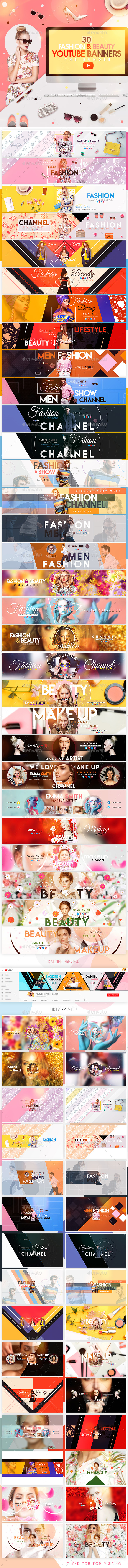 YouTube Bundle - 30 Creative Beauty & Fashion YouTube Banners - YouTube Social Media
