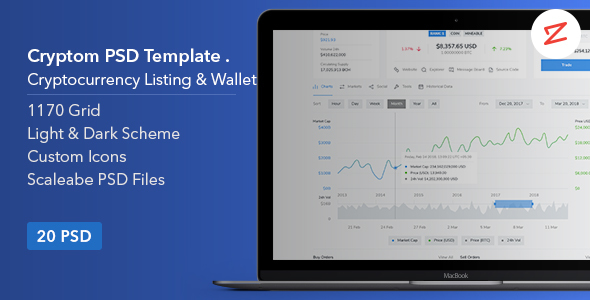 Cryptom- Crypto Currency PSD Template