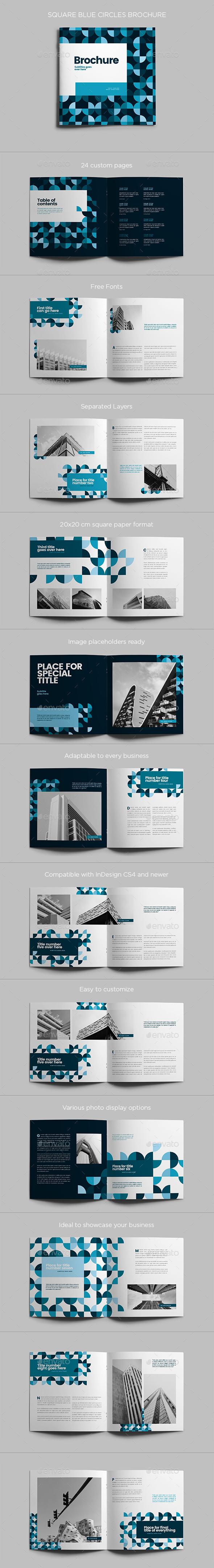Square Blue Circles Brochure - Brochures Print Templates