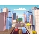 City Street Cars Vector Cartoon Illustration