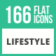 166 Lifestyle Flat Icons - GraphicRiver Item for Sale