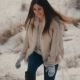 Beautiful Girl Walking on Snowy Road - VideoHive Item for Sale
