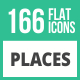 166 Places Flat Icons - GraphicRiver Item for Sale