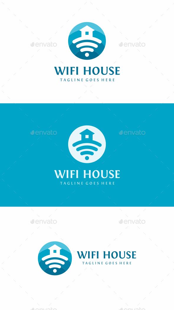 Wi Fi House - Symbols Logo Templates