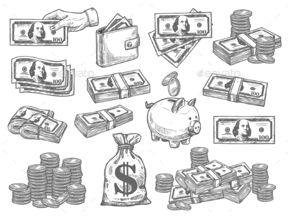 Vector Set with Money - Business Conceptual