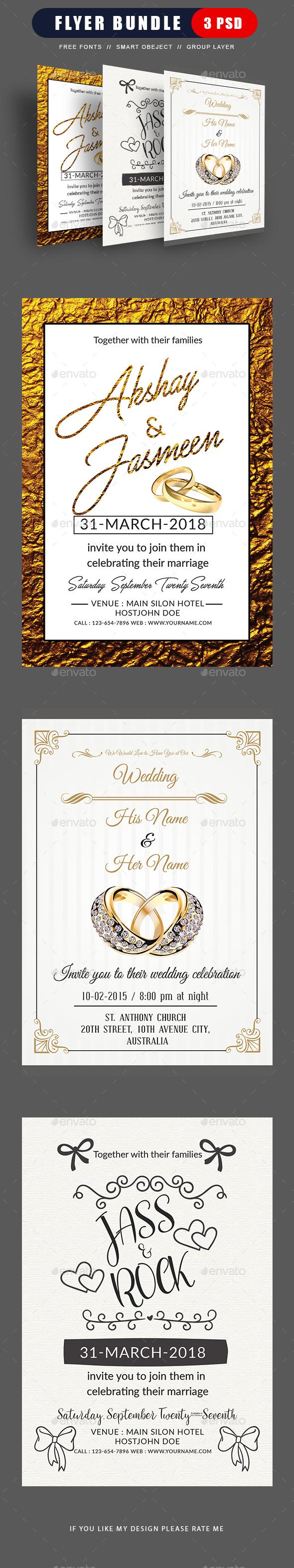 Wedding Flyer Template Bundle - Weddings Cards & Invites