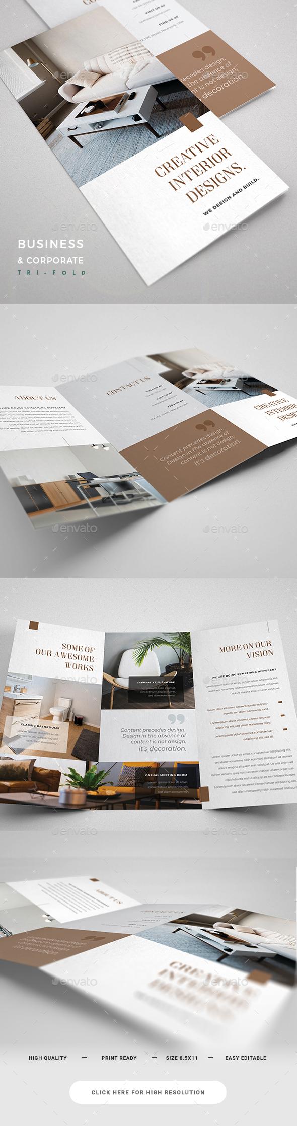 Interior Design Trifold - Corporate Brochures