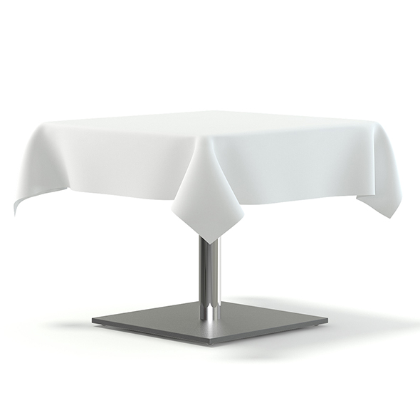 Metal Table with a Tablecloth 3D Model - 3DOcean Item for Sale