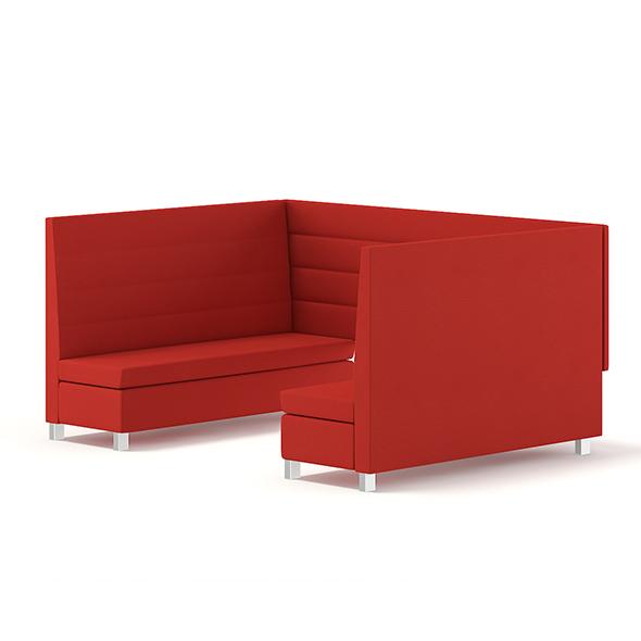 Red Restaurant Sofas 3D Model - 3DOcean Item for Sale