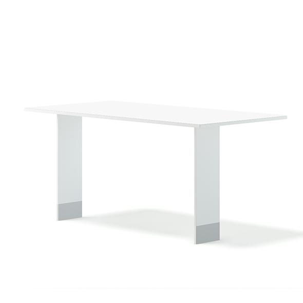 White Rectangular Table 3D Model - 3DOcean Item for Sale
