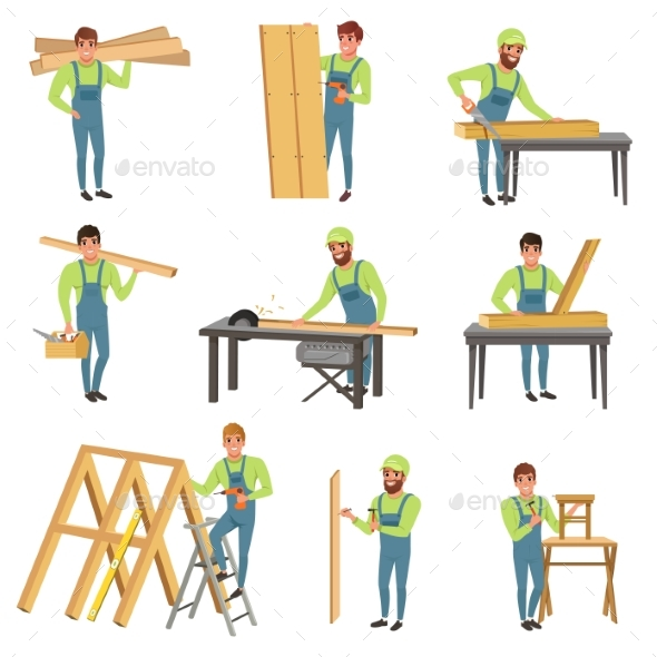 Cartoon Set of Carpenter Characters at Work - People Characters