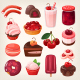 Set of Desserts with Cherry Flavors - GraphicRiver Item for Sale