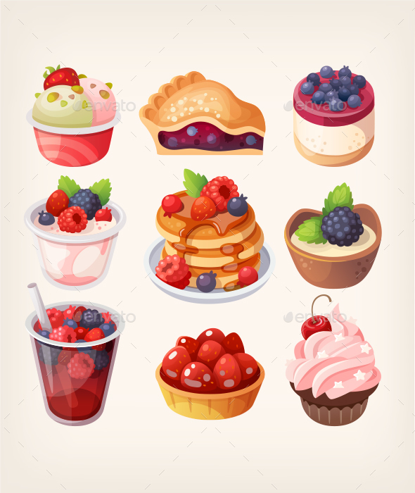 Forest Fruit Desserts - Food Objects