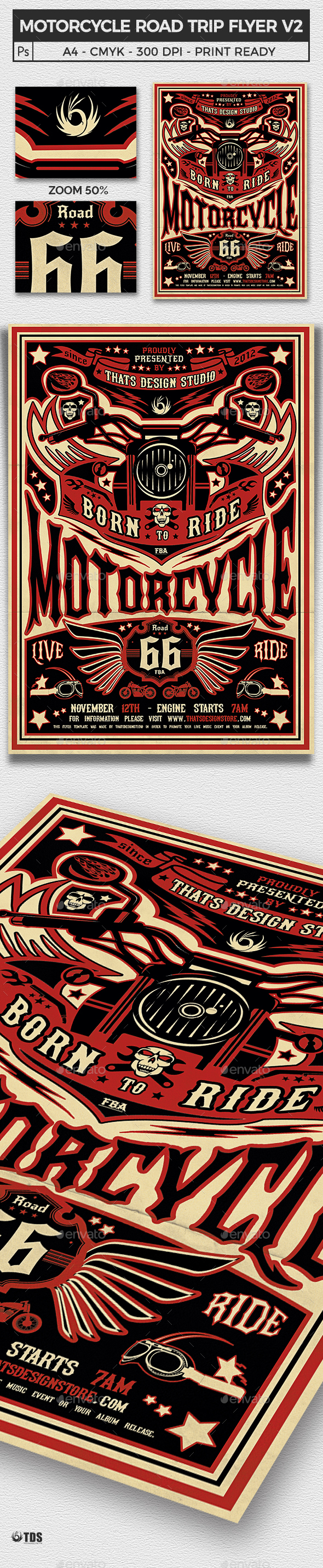 Motorcycle Road Trip Flyer Template V2 - Events Flyers
