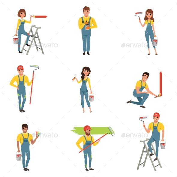 Flat Vector Set of Painters with Equipment Brush - People Characters