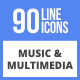 90 Music & Multimedia Filled Line Icons - GraphicRiver Item for Sale