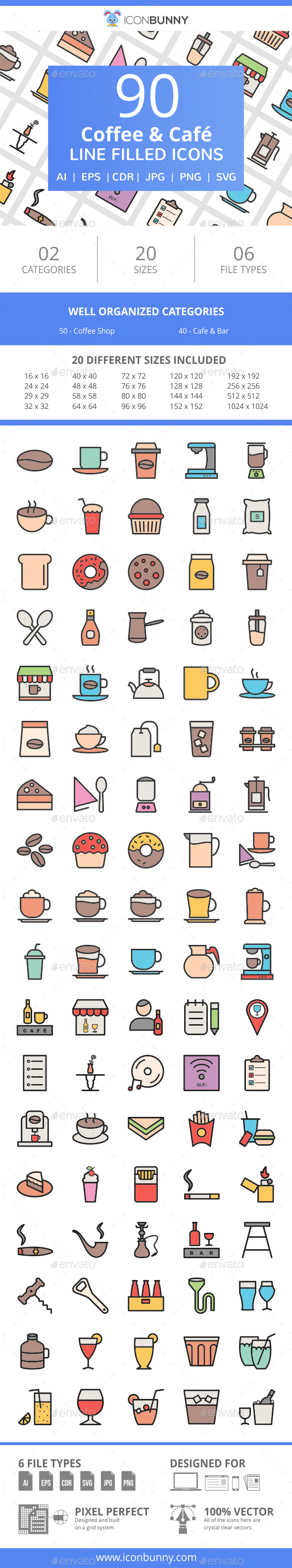 90 Coffee & Cafe Filled Line Icons - Icons
