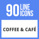 90 Coffee & Cafe Filled Line Icons - GraphicRiver Item for Sale