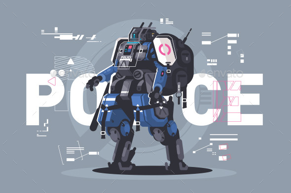 Police Drone Robot - Miscellaneous Vectors