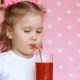 Vegetarian Drink. A Happy Child Drinks a Raspberry Smoothie Through a Straw and Laughs - VideoHive Item for Sale