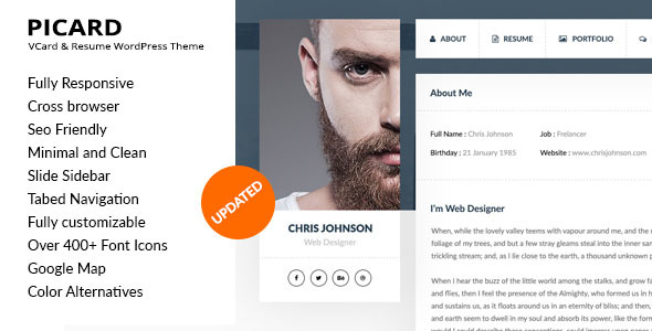 Picard – vCard & Resume WordPress Theme