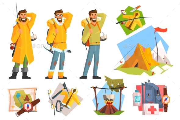 Man Dressed As Camper, Fisher and Climber. - Sports/Activity Conceptual