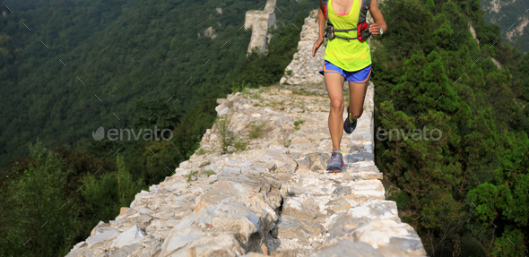 Trail running on great wall in china - Stock Photo - Images