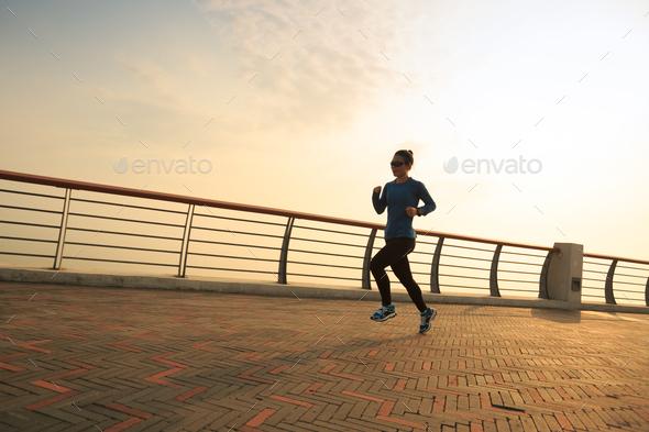 Running on coast - Stock Photo - Images