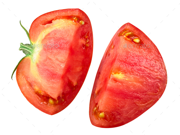 Split beef tomato half, top view - Stock Photo - Images