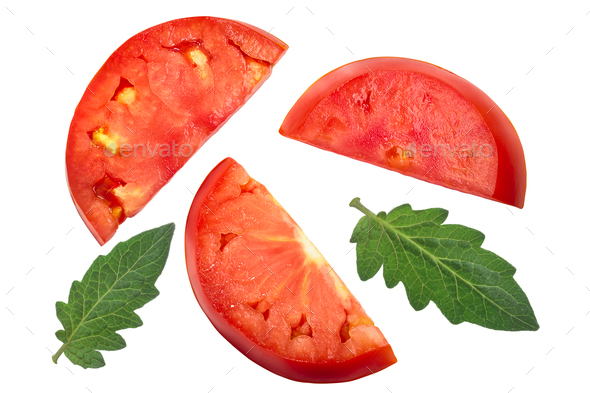 Slices of beef tomato, top view - Stock Photo - Images