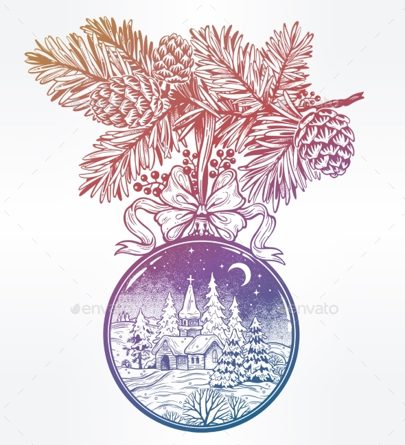 Ornate Merry Christmas Greetings. Vintage Card - Christmas Seasons/Holidays