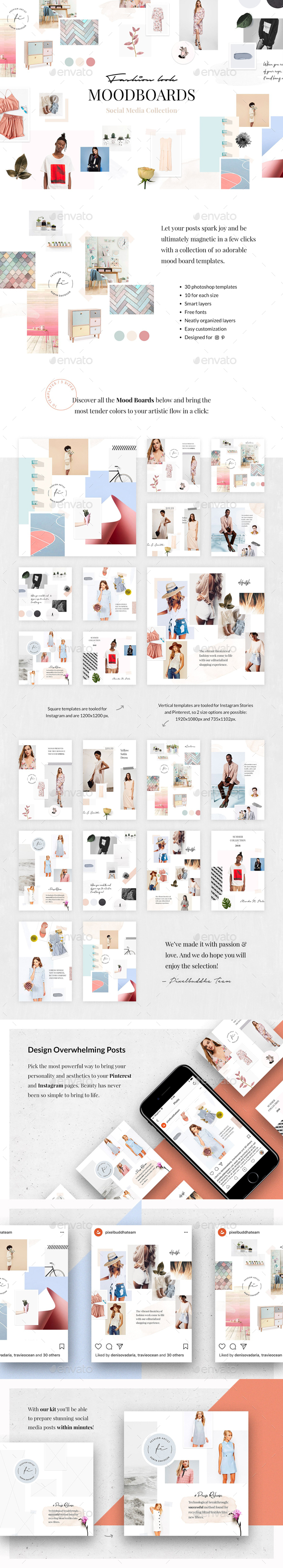 Fashion Look Mood Boards Collection - Social Media Web Elements