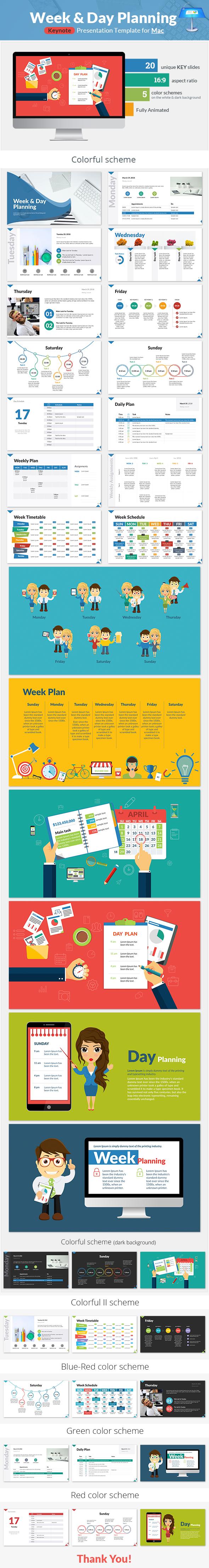 Week and Day Planning Keynote Presentation Template - Keynote Templates Presentation Templates