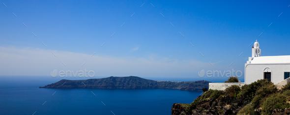 White church in Santorini, Greece - Stock Photo - Images