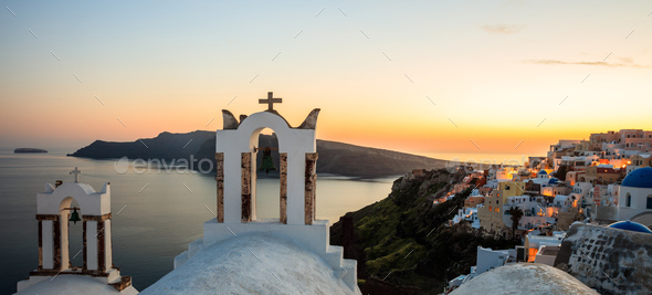 Sunset over Aegean sea at Santorini island Greece - Stock Photo - Images