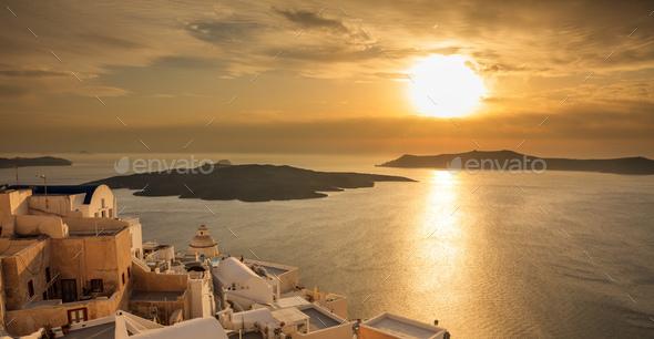 Santorini island, Greece - Sunset over Aegean sea - Stock Photo - Images