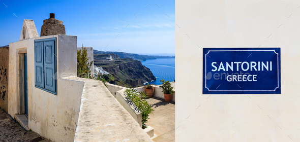 Santorini island, Greece - Caldera view - Stock Photo - Images