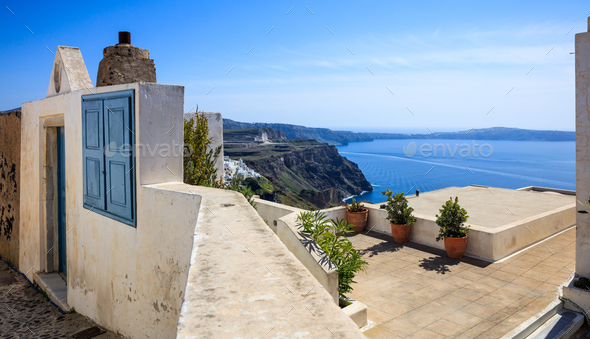 Santorini island, Greece - Caldera view - Stock Photo - Images