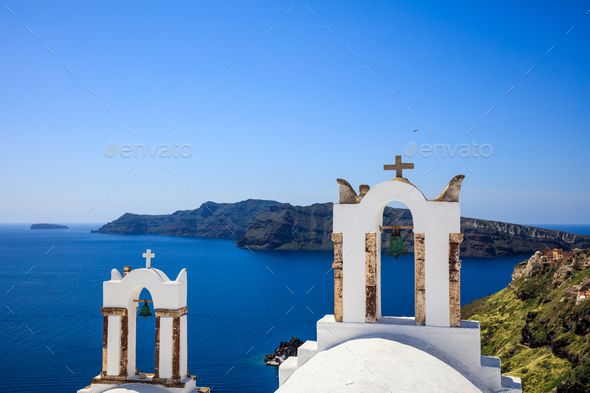 Bell tower in Santorini, Greece - Stock Photo - Images