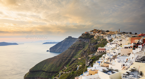 Santorini island, Greece - Caldera over Aegean sea - Stock Photo - Images