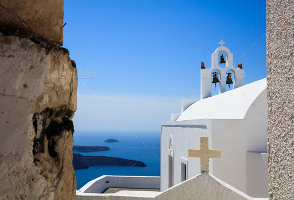 White church in Santorini, Greece - Stock Photo - Images