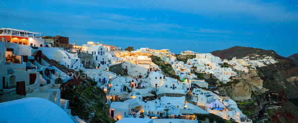 Santorini island, Greece - Caldera over Aegean sea at evening - Stock Photo - Images