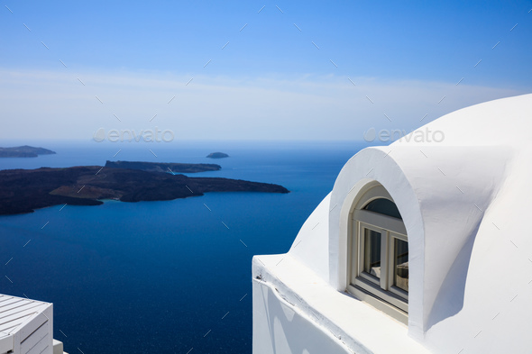 Whitewashed house detail in Santorini, Greece - Stock Photo - Images