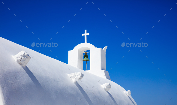 White church in Santorini Greece - Stock Photo - Images